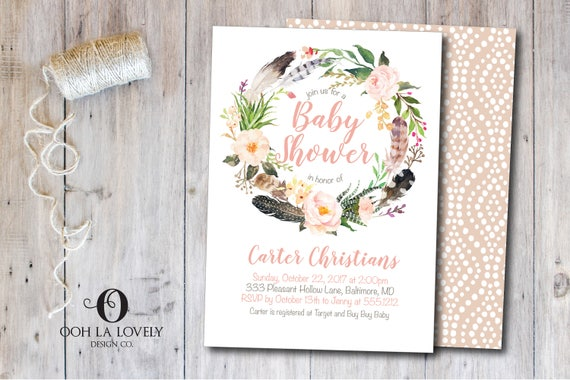 Boho Baby Shower Invitation, Girl, First Birthday Invite, Printable, Floral  Peach Watercolor, Birthday Party Invitation, Peach Wreath, Fall
