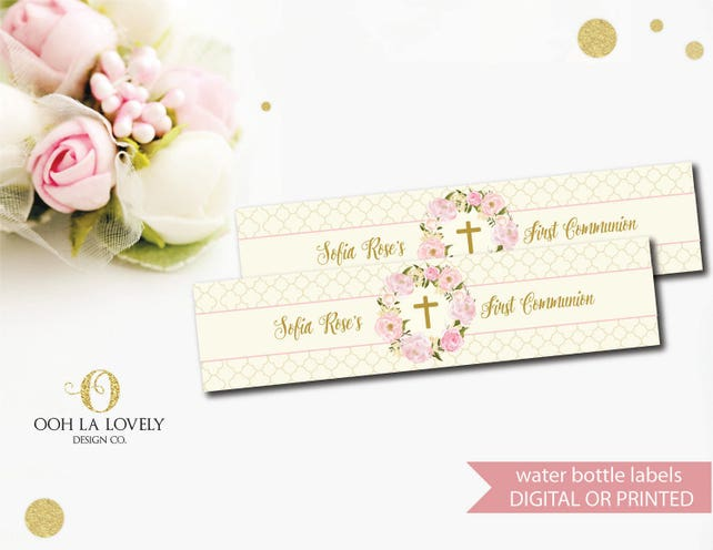 Pink Floral First Communion Invitation Pink Baptism Invite