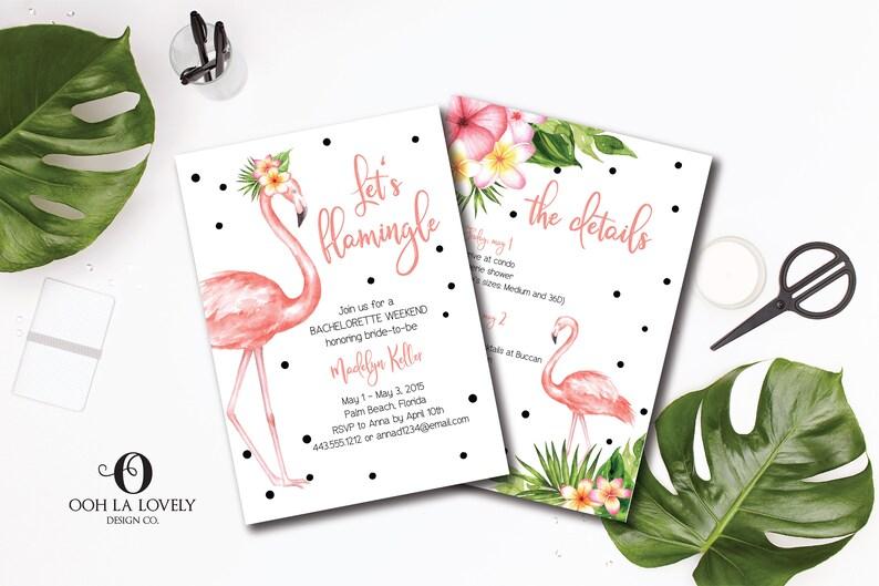 Lets Flamingle Bachelorette Weekend Invitation Flamingo