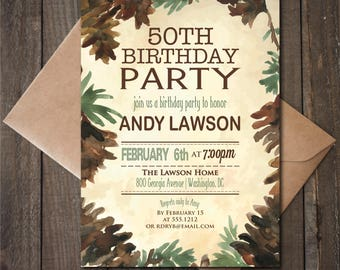 Rustic Birthday Party Invitation, Outdoorsy Birthday Party Invite, Printable, Masculine Invite 40th 50th 60th Birthday Invite, Pinecones