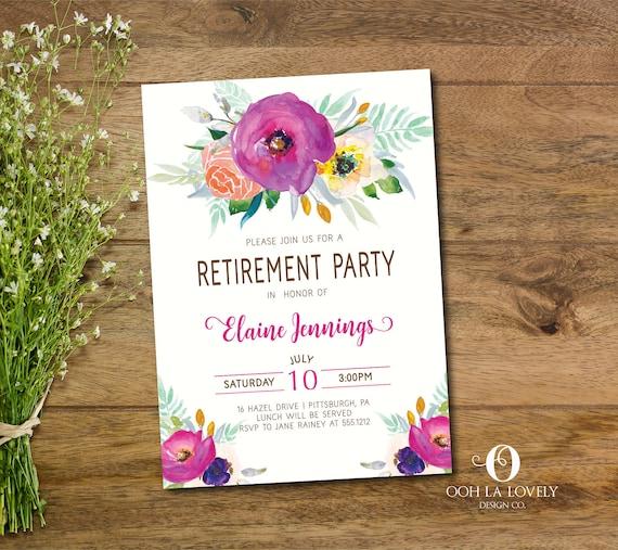 retirement party invitation purple retirement luncheon etsy