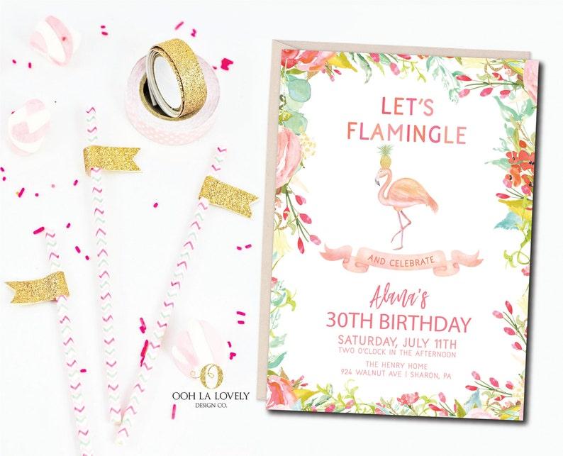 Flamingo Birthday Party Invitation Pool