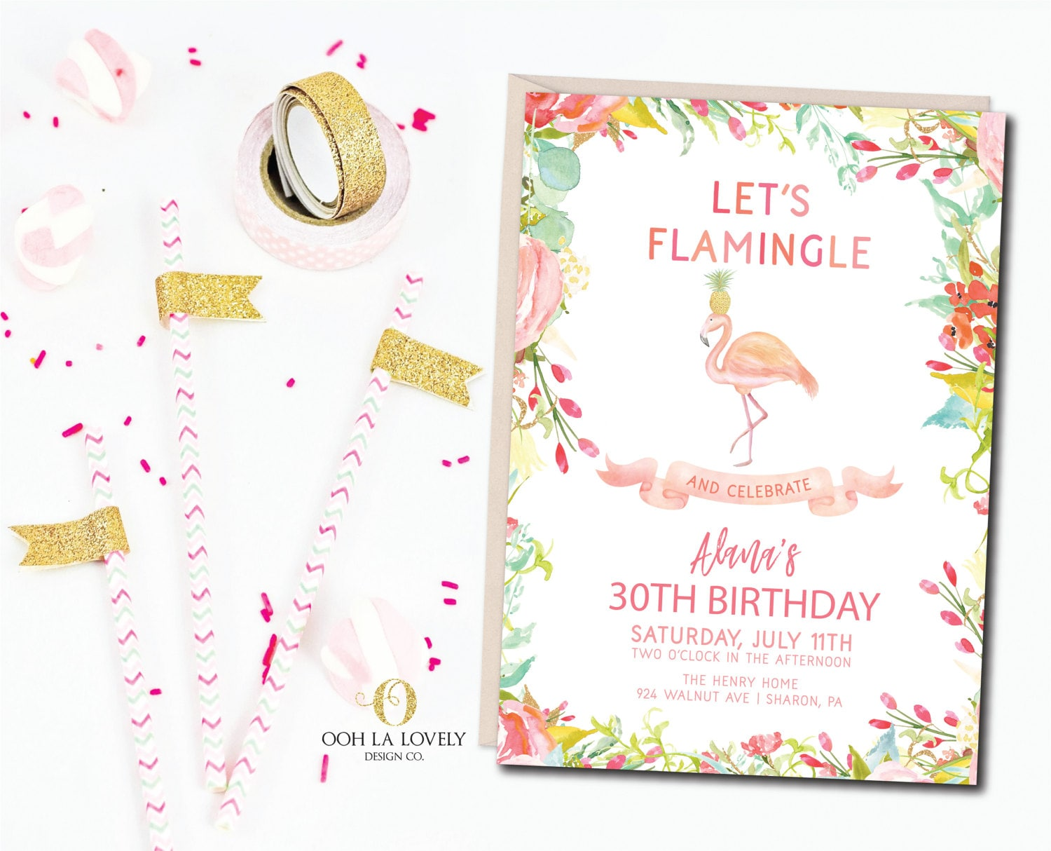 Flamingo Birthday Party Invitation Pool