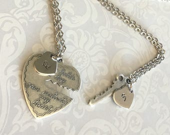 Personalized Couples Necklace- HIS HERS Necklace SET, Boyfriend Girlfriend Necklace, Couples Jewelry, Handstamped Heart Initial, Silver Set