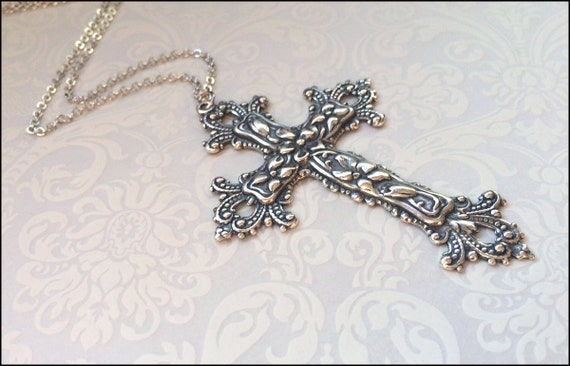 Silver Cross Necklace~Christian Faith Jewelry, Large Detailed Gorgeous Cross, Religious Necklace, Guardian Angel Forever Gift For Her Love by Etsy