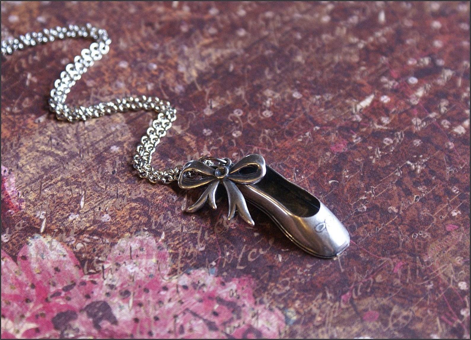 ballerina dance necklace silver ballet shoe w/ sweet bow charm prima ballerina by revellerosejewelry
