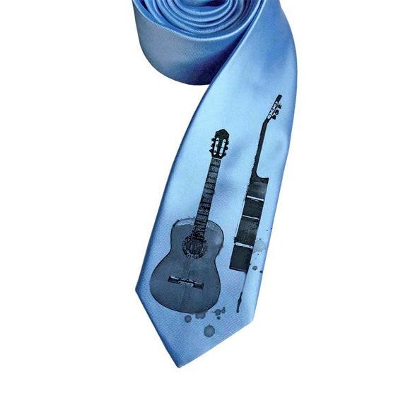 296f72e05fe9 Guitar necktie printed necktie tie print gift for men | Etsy