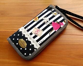 Stripe Wallet, Zipper Wallet, Women Wallet, Handmade Wallet, Card Wallet, Vegan Wallet, Wristlet Wallet, Paris Wallet, Polka Dot Wallet