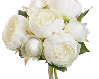 White silk flowers etsy new silk antique white peony bouquet x7 12 antique white silk flowers antique white peony bouquet artificial bridal flowers mightylinksfo