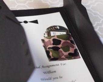 Ring Bearer Invitation, Dog tags for your little guy to wear, Optional Air Force Style, Customize this card