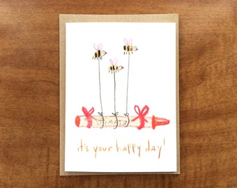 Bee greeting card etsy its your happy day greeting card blank bee birthday card m4hsunfo