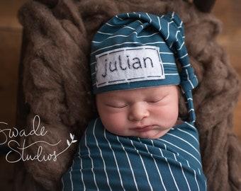 newborn hat - newborn boy coming home outfit - DARK TEAL STRIPE
