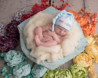 Rainbow baby - personalized baby gifts for newborns - baby shower gift - newborn knot hat name - baby photo props