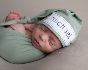 newborn photo prop - coming home outfit - baby boy - baby girl - knot hat - personalized gift - SAGE GREEN