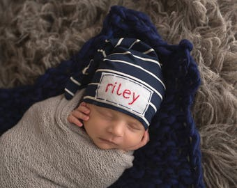 Personalized baby name hat - baby gifts - boy monogrammed - newborn photo  prop - organic cotton - NAVY PINSTRIPE 47bd296c3986