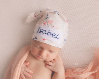c69afcf9 Baby hat with name - baby girl coming home outfit - personalized baby  shower gift - newborn baby girl