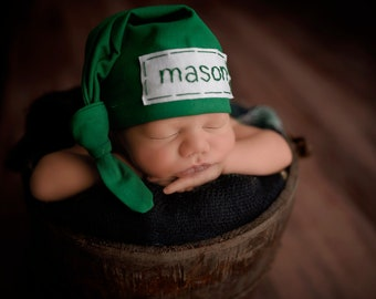 newborn name hat - baby boy knot hat - personalize coming home outfit - hospital hat - KELLY GREEN