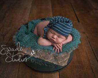 knot hat - slouchy beanie - baby boy - baby shower gift - newborn photography prop -  DARK TEAL STRIPE