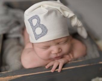newborn hat monogrammed - initial - personalized - baby gift - baby boy - baby girl - unisex - gender neutral - photo prop