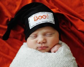baby Halloween hat - my first Halloween - 1st Halloween costume - newborn - infant - Boo - handmade
