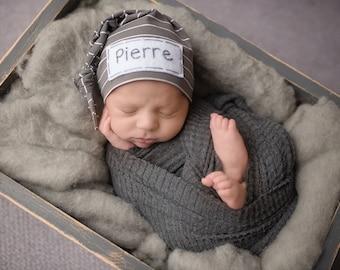 Personalized Newborn Hat - baby boy - baby shower gift - newborn prop - GRAPHITE STRIPE