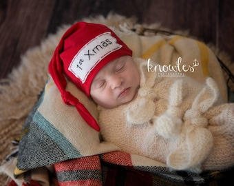 1st Christmas hat - my first Christmas outfit - baby hat - newborn Christmas