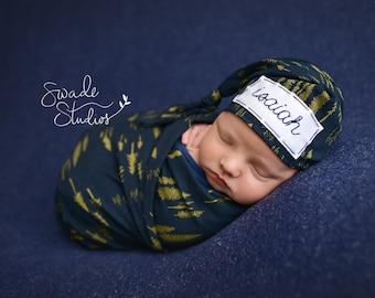 Newborn boy - baby knot hat name - hospital hat - woodland - personalized newborn - photo prop - PINE TREES