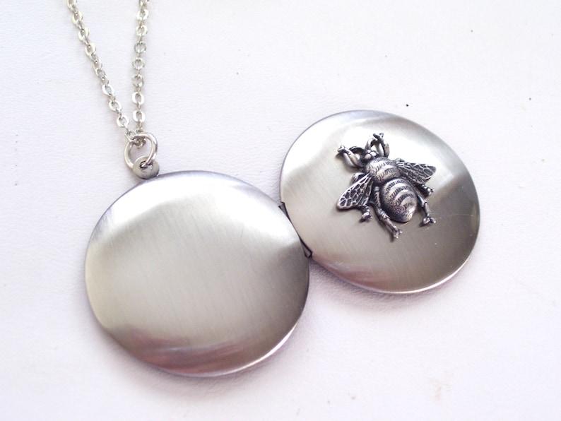 Unisex Locket Nature Necklace Locket Pendant Necklace Burnished Silver Locket Antiqued Silver Bee Locket Necklace Silver Bee Locket