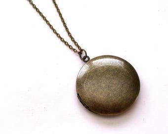 Antiqued Brass Locket, Rustic Locket Necklace, Father's Day Gift, Unisex Locket, Dark Brass Locket, Men's Locket, Primitive Pendant Necklace