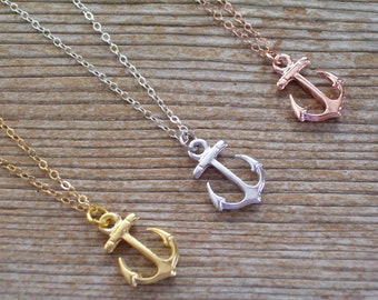 Small Anchor Necklace, Rose Gold Anchor Necklace, Gold Filled Necklace, Gold Anchor, Silver Anchor, Minimalist Necklace, Dainty Necklace