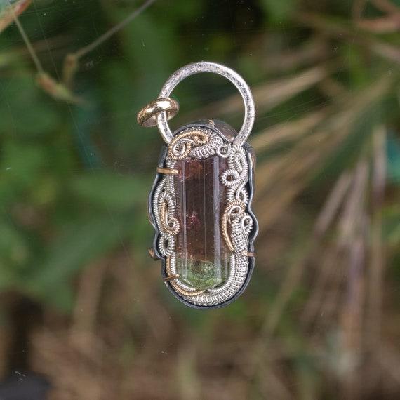 Tourmaline Wire wrap ring Rubellite Tourmaline Size 8 Sterling Silver