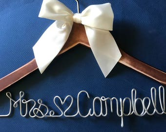 Wedding Hanger, Bridesmaid Gift, Shower Gift, Wedding Dress, Bridal Gown, Wedding Gown, Wire Name Hanger, Custom Hanger Bachelorette, 10