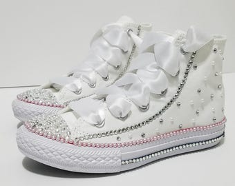 Adult White Wedding High Tops Bling Crystal and Pearl Rhinestone Converse 78a5ef2c5