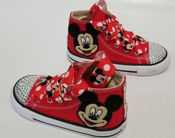 4e58e03322b2 Mickey Mouse Bling Converse- Clear Crystals Red High Top Shoes