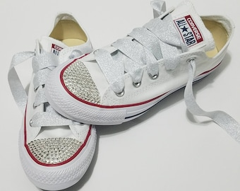 107c6357a177 Adult White Bling Clear Crystal Rhinestone Converse