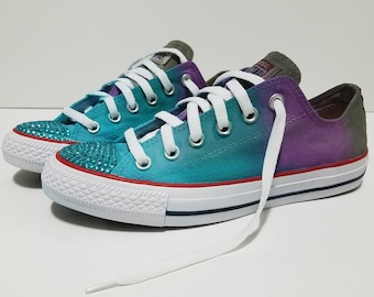 670e22755551 Hand Dyed Tie Dye Adult Ombre Color Bling Turquoise Rhinestone Converse  Turquoise Blue