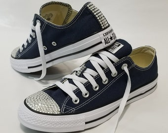 12f76272158218 Adult Navy Blue Low Top Bling Clear Crystal Rhinestone Converse