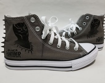 Black Panther Spike Converse- Gray High Top Shoes and Spikes for Boys or  Girls f629a4a54