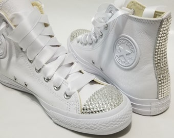 c95c7460ea08 Adult White Leather High Top Bling Clear Crystal Rhinestone Converse Bridal  Wedding
