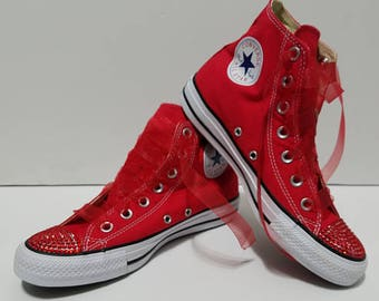 95e1f630790917 Children s Red High Tops Bling Crystal Rhinestone Converse