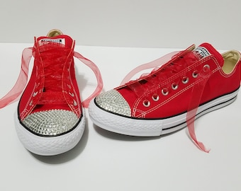 ad6818fa6831 Adult Red Low Top Bling Clear Crystal Rhinestone Converse