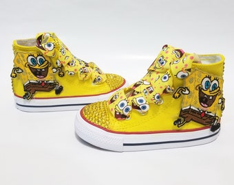 3d5650e59089 SpongeBob Patch Bling Converse- Yellow Crystals Yellow High Top Shoes