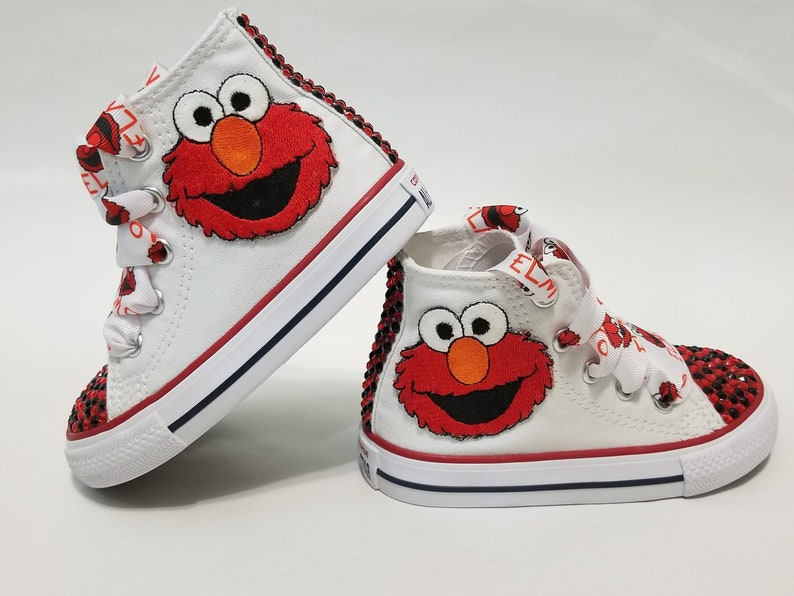 154e754aba10f Elmo Bling Converse- Red and Black Crystals Red High Top Shoes