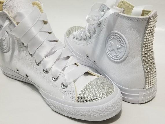Adult White Leather High Top Bling Clear Crystal Rhinestone  c9d6da404aa2