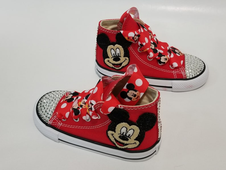 0320d2509dc91 Mickey Mouse Bling Converse- Clear Crystals Red High Top Shoes