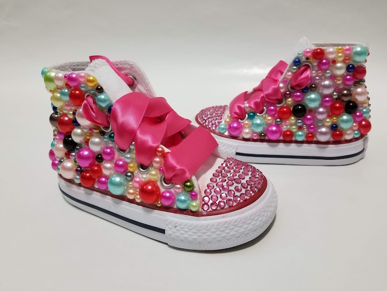 cc76ee9ac862 Candy Coated Bling High Top Converse Colorful Pearls Pink