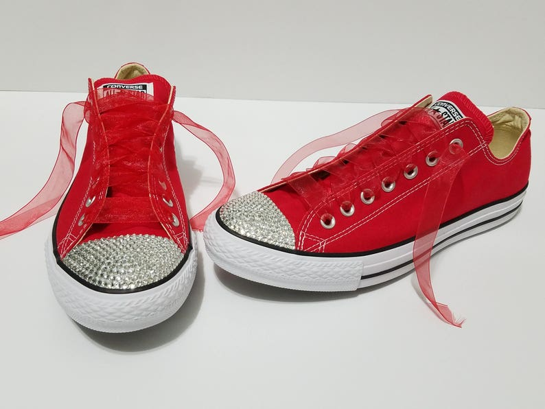 d1454f895075 Adult Red Low Top Bling Clear Crystal Rhinestone Converse