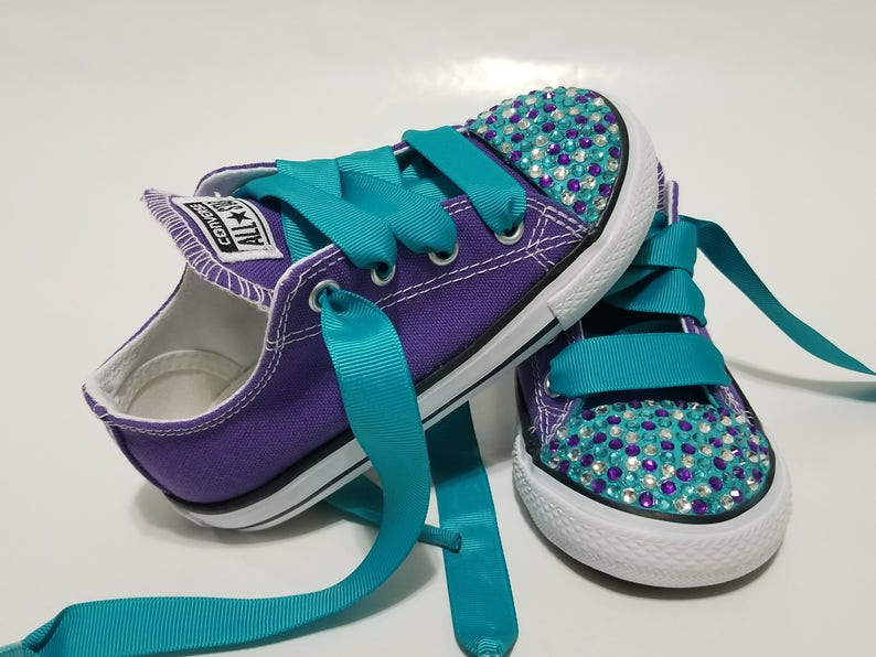 8d970744fba66b Baby Toddler Bling Converse Purple Turquoise and Clear