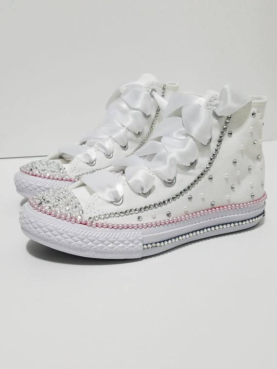 Crystal & Pearl Baby Converse High Tops Crystal Shoes