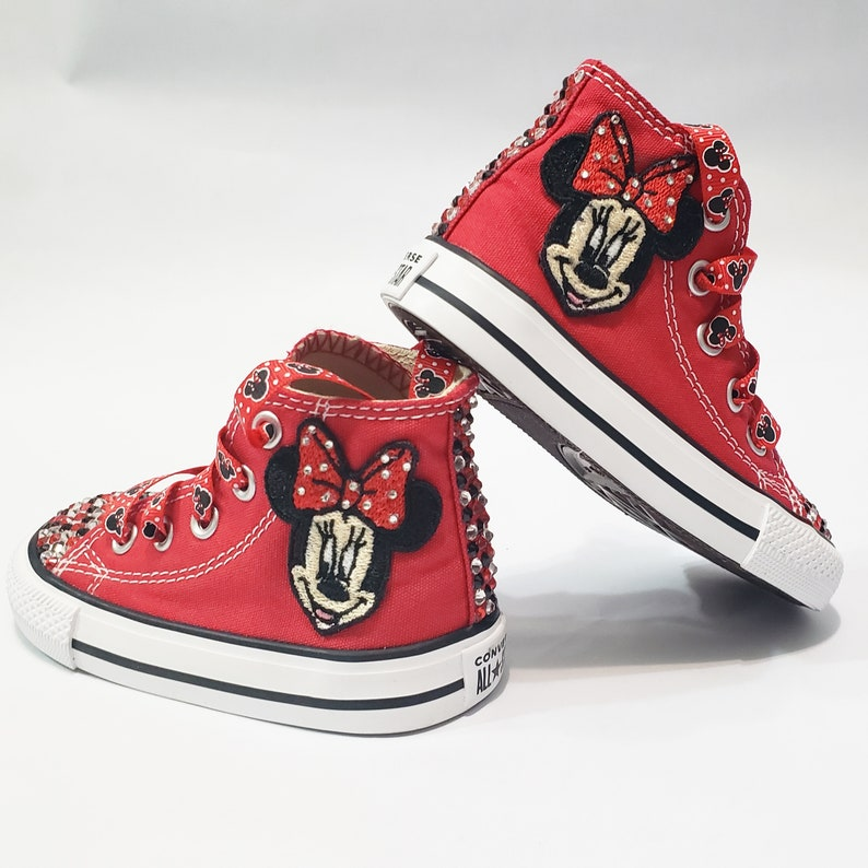 12a49092dccfa Minnie Mouse Bling Converse- Red, Clear, and Black Crystals Red High Top  Shoes